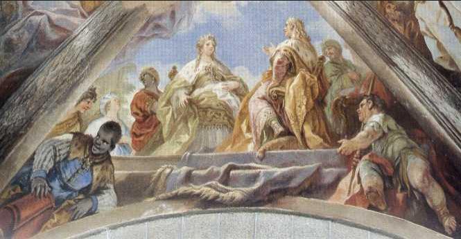 Salomón y la Reina de Saba en la Bóveda de la Basílica de El Escorial (1693-1694) Luca Giordano (1634-1705) Pintor Barroco italiano.