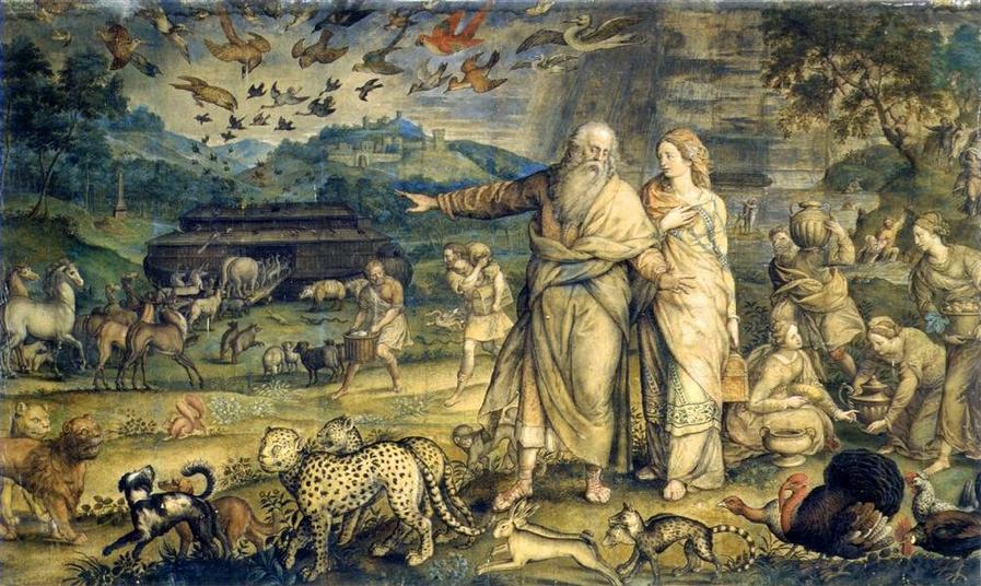 """""""El embarque en el Arca de Noé"""". (1559) Michiel Coxcie (1499-1592) Colección de Alfonso XIII. Monasterio de El Escorial. Patrimonio Nacional"""