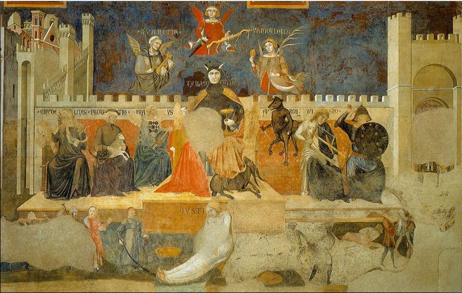 """""""Alegoría del mal Gobierno"""" (1338-1339) Ambrogio Lorenzetti (1285-1348) Fresco pintura Prerrenacimiento en el Salon de los nueve (o sala del Consejo) en el Palazzo Pubblico. Siena."""