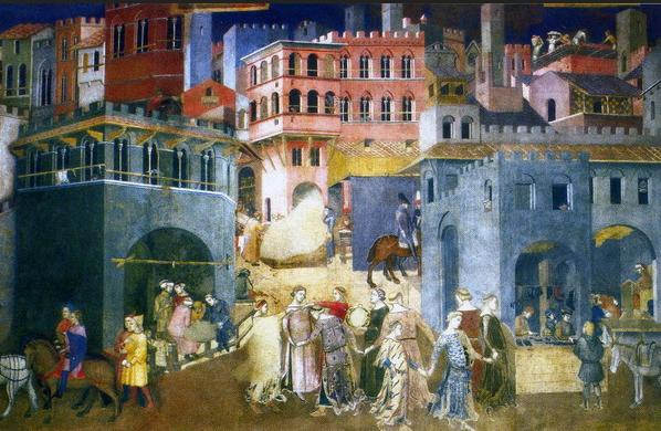 """""""Alegoría del buen Gobierno"""" (1337-1339) Ambrogio Lorenzetti (1285-1348) Fresco del siglo XIV Prerrenacimiento en la Sala del Consejo. Palazzo Pubblico. Siena."""