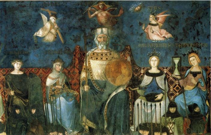 """""""Alegoría del buen Gobierno"""" (1337-1339) Ambrogio Lorenzetti (1285-1348) (detalle) Fresco del siglo XIV Prerrenacimiento en la Sala del Consejo. Palazzo Pubblico. Siena."""