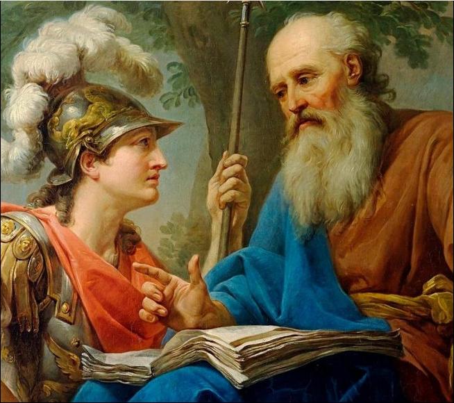 """""""El militar ateniense Alcibíades y Sócrates"""" (1776-1777) Marcello Bacciarelli (1731-1818) Barroco."""