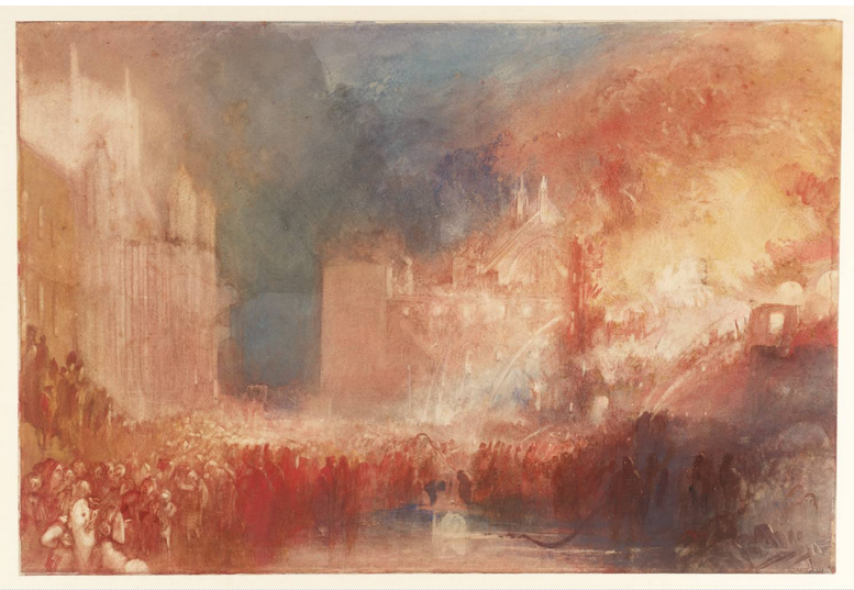 """""""The Burnig de las Cámaras de los Lores y los Comunes. (16 octubre 1834), en la Real Academia Cleveland Museum of Art. Ohio. Estados Unidos . Joseph Mallord William Turner (1775- 1851) Romanticismo."""