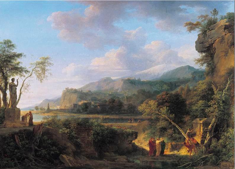 """""""Cicerón descubre la tumba de Arquímedes"""" (1787) pintura de historia neoclásica Valenciennes Pierre Henri (1750-1819)"""