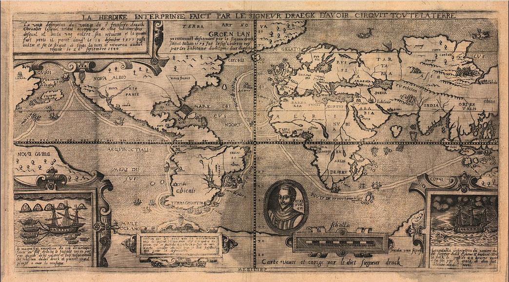 Este mapa, dibujado por Nikola van Sype, muestra a Nueva Albión como un área imprecisa en la parte occidental de América del Norte. Fue dibujado a principios de la década de 1580.