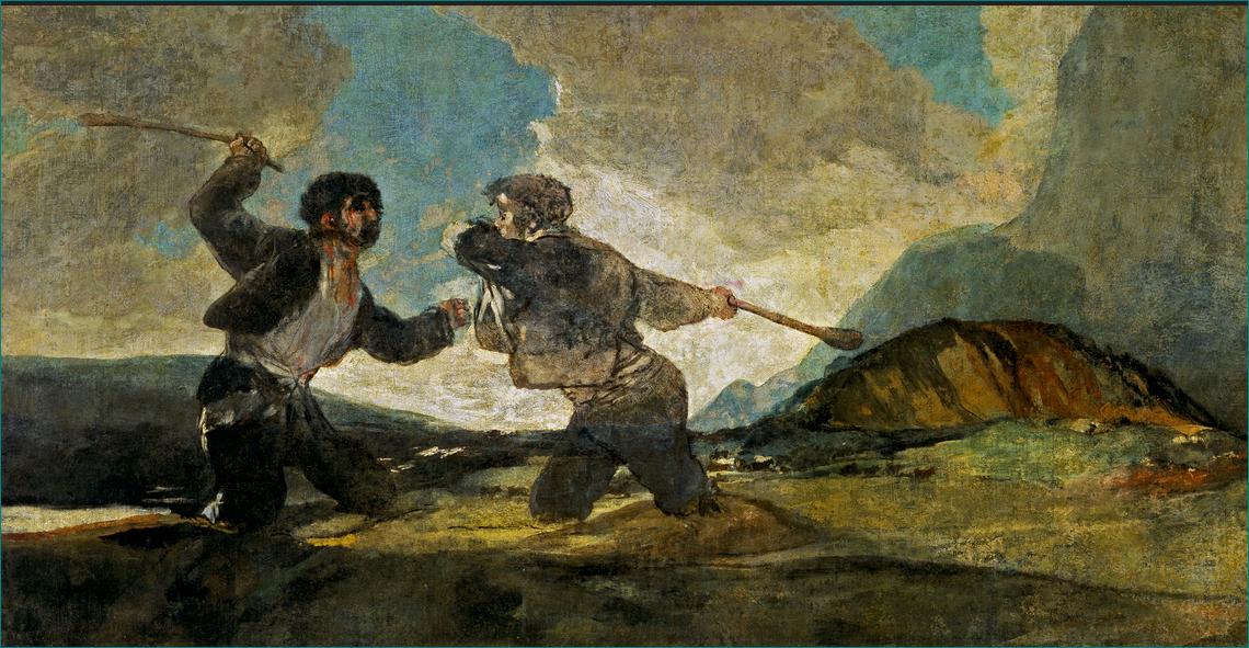 """""""Duelo a garrotazos"""" o """"La riña"""". Francisco de Goya (1746-1828). Öleo sobre revoco, trasladado a lienzo. Museo del Prado. Madrid."""