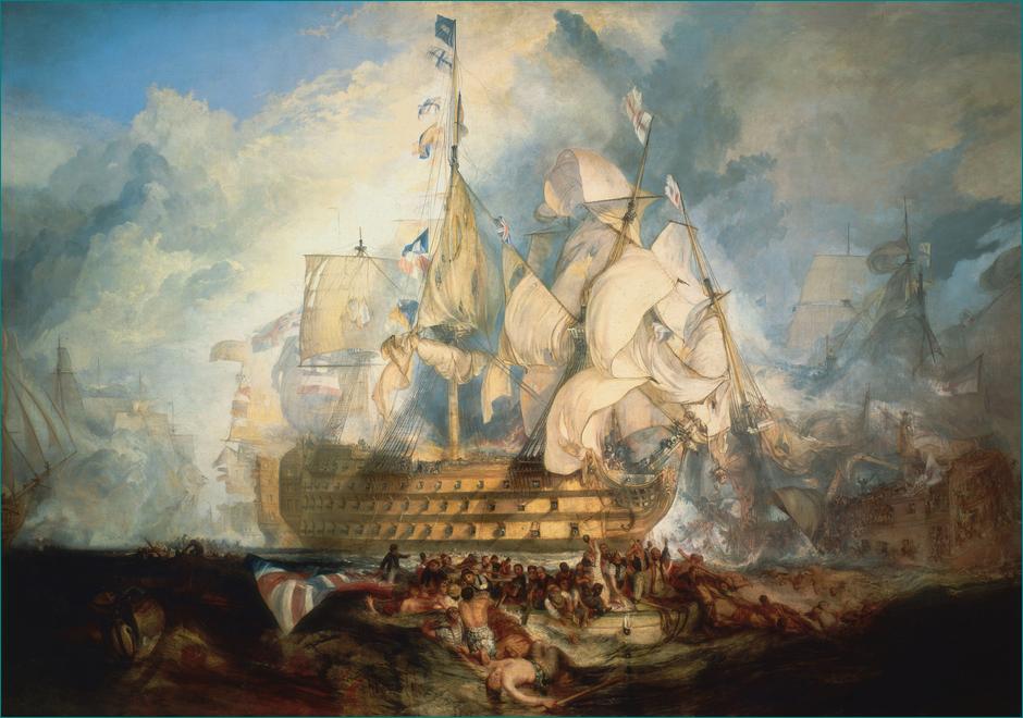 """""""La Batalla de Trafalgar"""" (1822) Joseph Mallord William Turner (1775-1851) Museo Real de Greenwich Londres"""