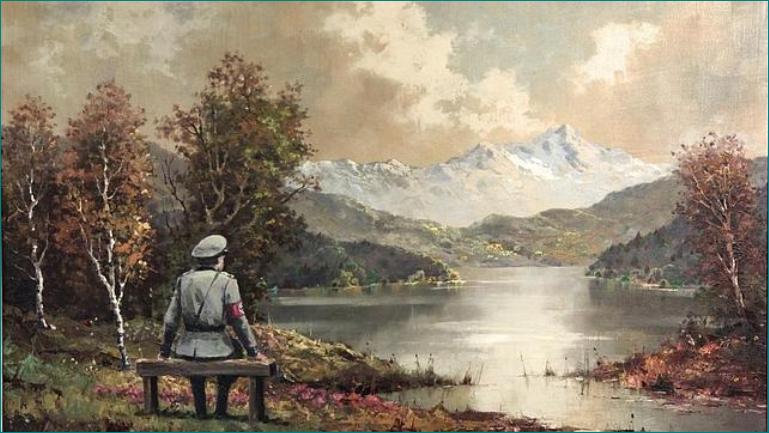 """""""La banalidad de la banalidad del mal"""" Autor: Banksy. El artista callejero hizo un añadido a un óleo de K. Sager. Pinta un oficial nazi observando un lago."""