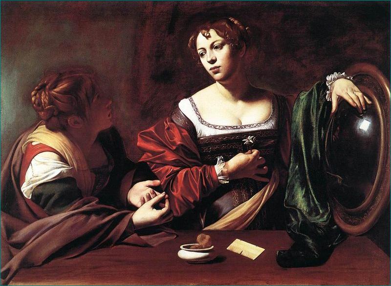 Marta y María Magdalena (1598) Caravaggio (1571-1610) Barroco. Detroit Institute of Arts, Detroit, Estados Unidos.
