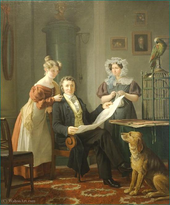 """El Cirujano con esposa e hija"" Martinus Christian Wesseltoft Rørbye (1803-1848) Edad de Oro danesa."