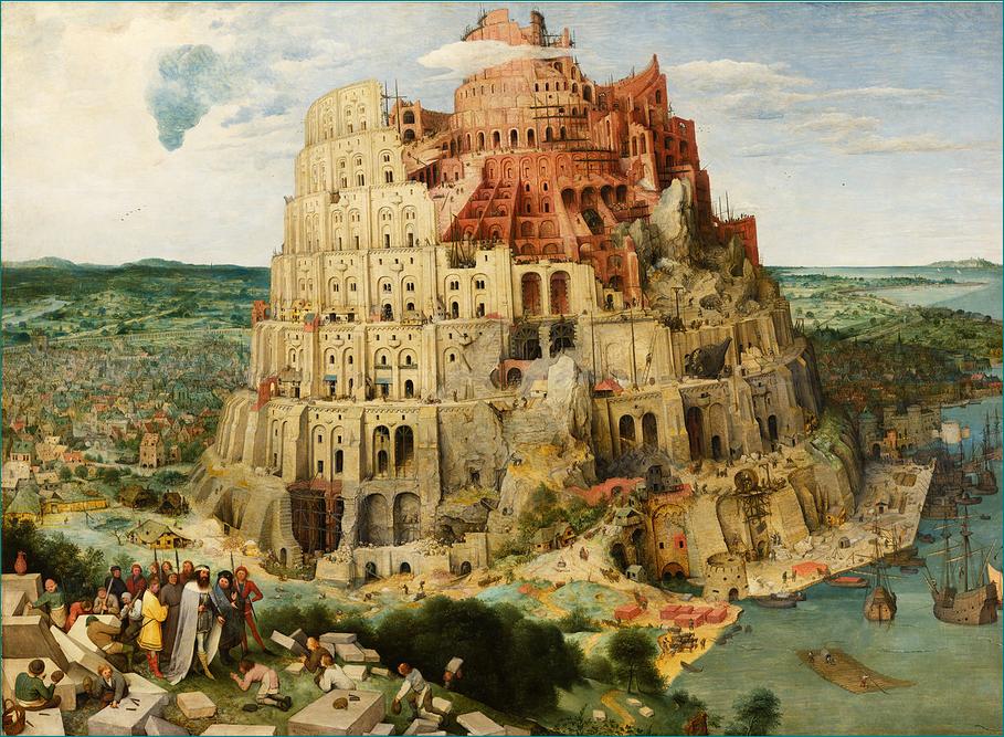 """""""La torre de Babel"""" (1563) Pieter Brueghel el Viejo (1525-1569) Renacentista. Museo de Historia del Arte de Viena."""