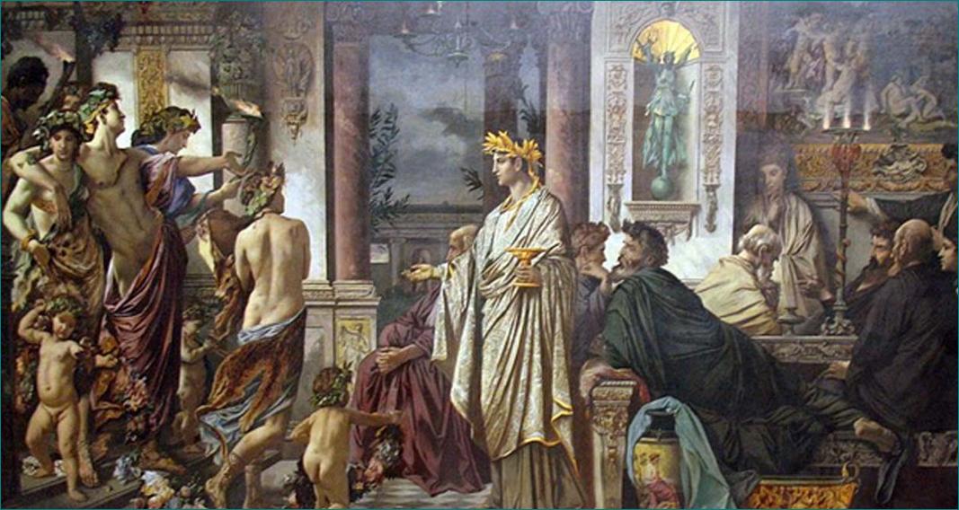 El banquete de Platón (1873)que representa la llegada de Alcibíades. Anselm Feuerbach (1829–1880)