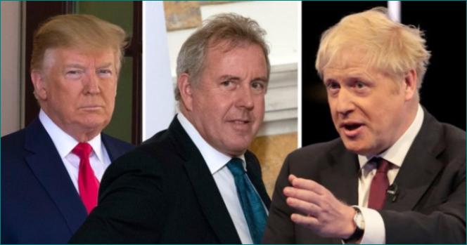 Trump, Kim Darroch y Boris Johnson.