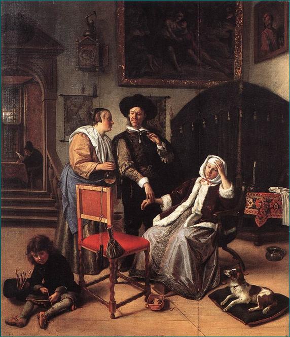 """""""La visita del doctor"""" (1663) Jan Steen (Flandes 1625-1679) prolífico pintor holandés del barroco, época conocida como """"la Edad de Oro Holandesa"""""""