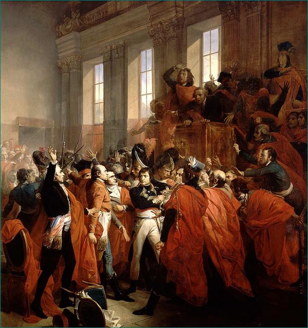 El general Bonaparte y el Consejo de los Quinientos, en Saint-Cloud el 10 de noviembre de 1799, por François Bouchot (1840).