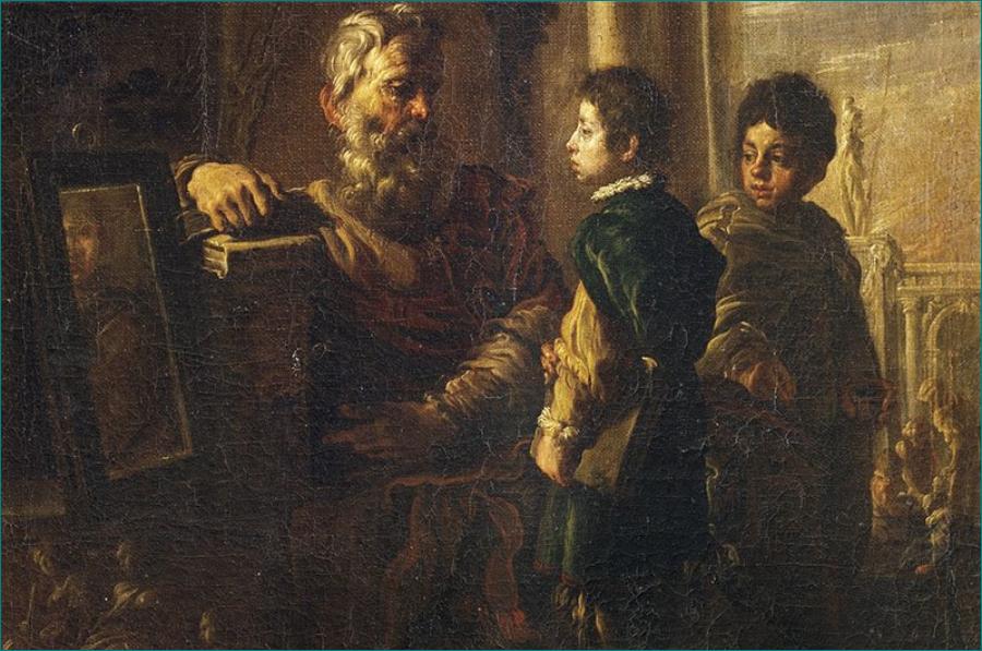 """""""Sócrates y dos discípulos"""". Domenico Fetti (1589-1623) Pintor barroco italiano Siglo XVII. Galería de los Uffizi, Florencia. Según Diógenes Laercio, Sócrates pedía a sus discípulos que se miraran en un espejo para realizar buenas acciones en la vida."""