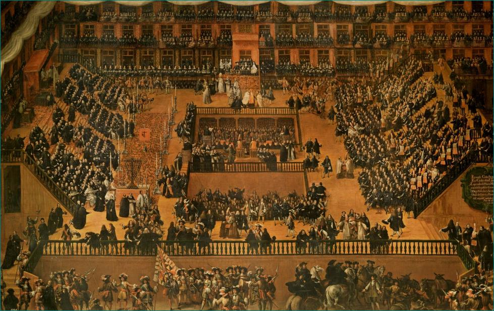 Auto de fe en la plaza mayor de Madrid (1683), Francisco Rizi (1614-1685) es una de las grandes figuras de la pintura barroca. Museo del Prado, Madrid.