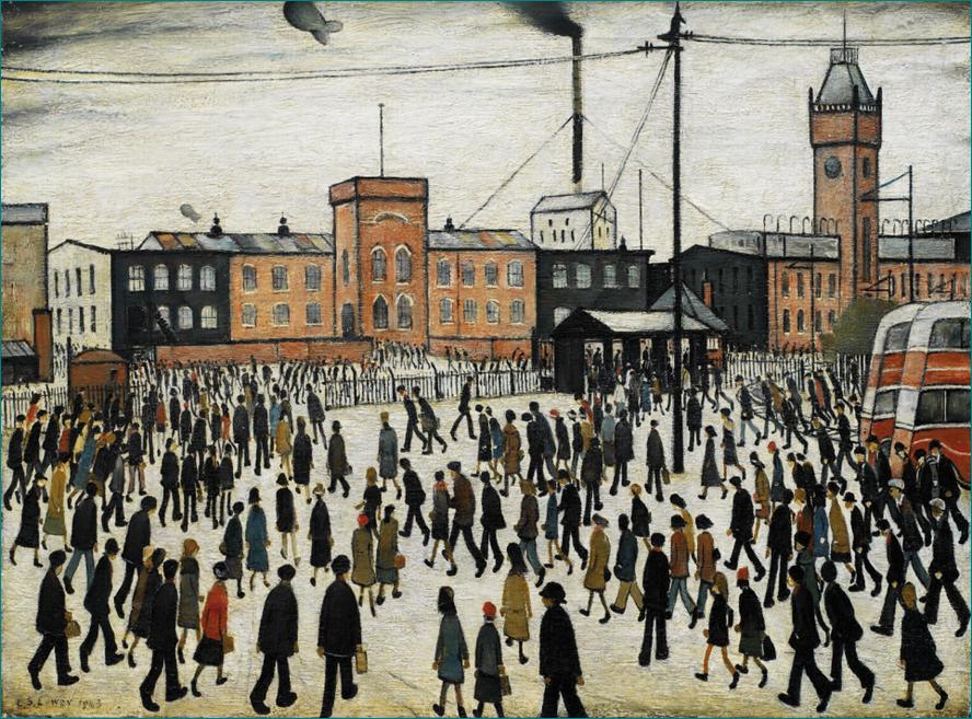 """""""Going to Work"""" (1943) L.S. Lowry (1887-1976) Modernismo. Colección del Museo Imperial de la Guerra en Londres."""