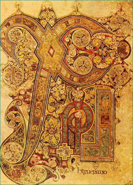El Libro de Kells. En el folio 34º aparece el célebre monograma de la Encarnación, compuesto por las letras Xi (Χ) y Ro (Ρ) , que son las dos primeras letras de la palabra Cristo en griego (ΧΡΙΣΤΟΣ) . Biblioteca del Trinity College de Dublín.