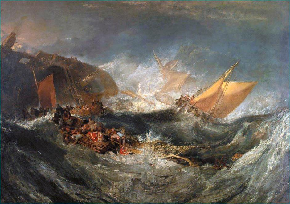 """""""Naufragio"""" (1810) Joseph Mallord William Turner (1775-1851) Miembro de Royal Academy of Arts. Considerado """"el pintor de la luz"""". Romanticismo. Tate Britain. Londres."""