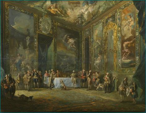 """""""Carlos III comiendo ante su corte"""" (Hacia 1775) Paret y Alcázar, Luis (1746-1799) Procedencia: Lionel Harris, Londres, 1933; adquisición, 1933. Museo Nacional del Prado. Madrid."""