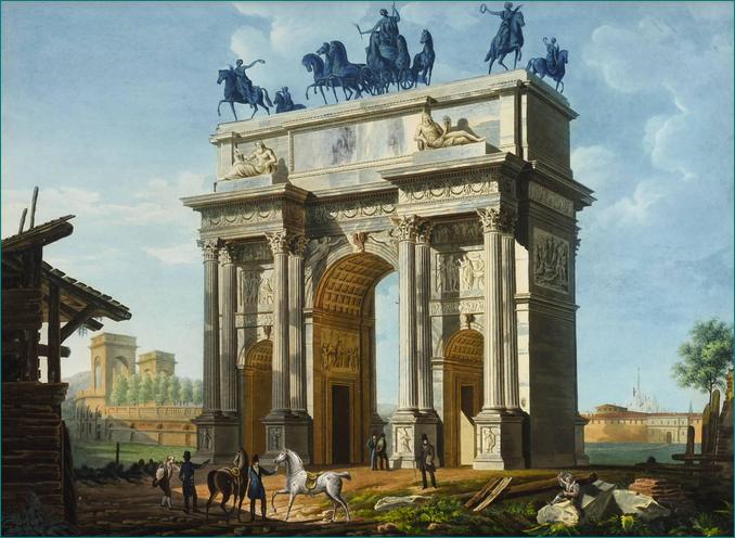 El Arco de la Paz en Milán (c.1835-1838) Giovanni Migliara (1785-1837) Escuela de Pintura el siglo XIX. Pintura italiana. Biblioteca Ambrosiana Milán.