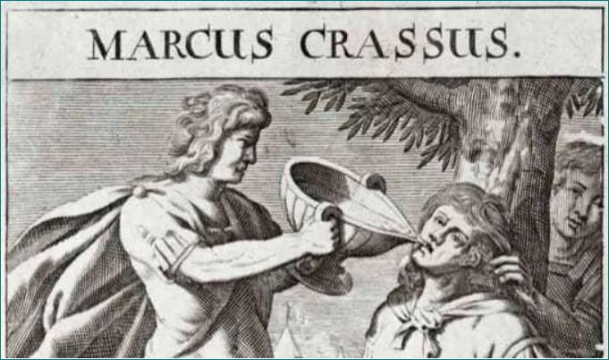 La muerte de Craso, una lección contra la avaricia.