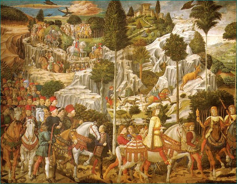 """""""La Cappella dei Reyes Magos"""" en el Palacio Medici Riccardi de Florencia, fue pintado en (1459-1461) por Benozzo di Lese di Sandro, llamado Benozzo Gozzoli (1420- 1497) fue un pintor cuatrocentista italiano. Pintura, Fresco. Procesión con Lorenzo de' Medici, Piero de Medici and Giovanni de Medici."""