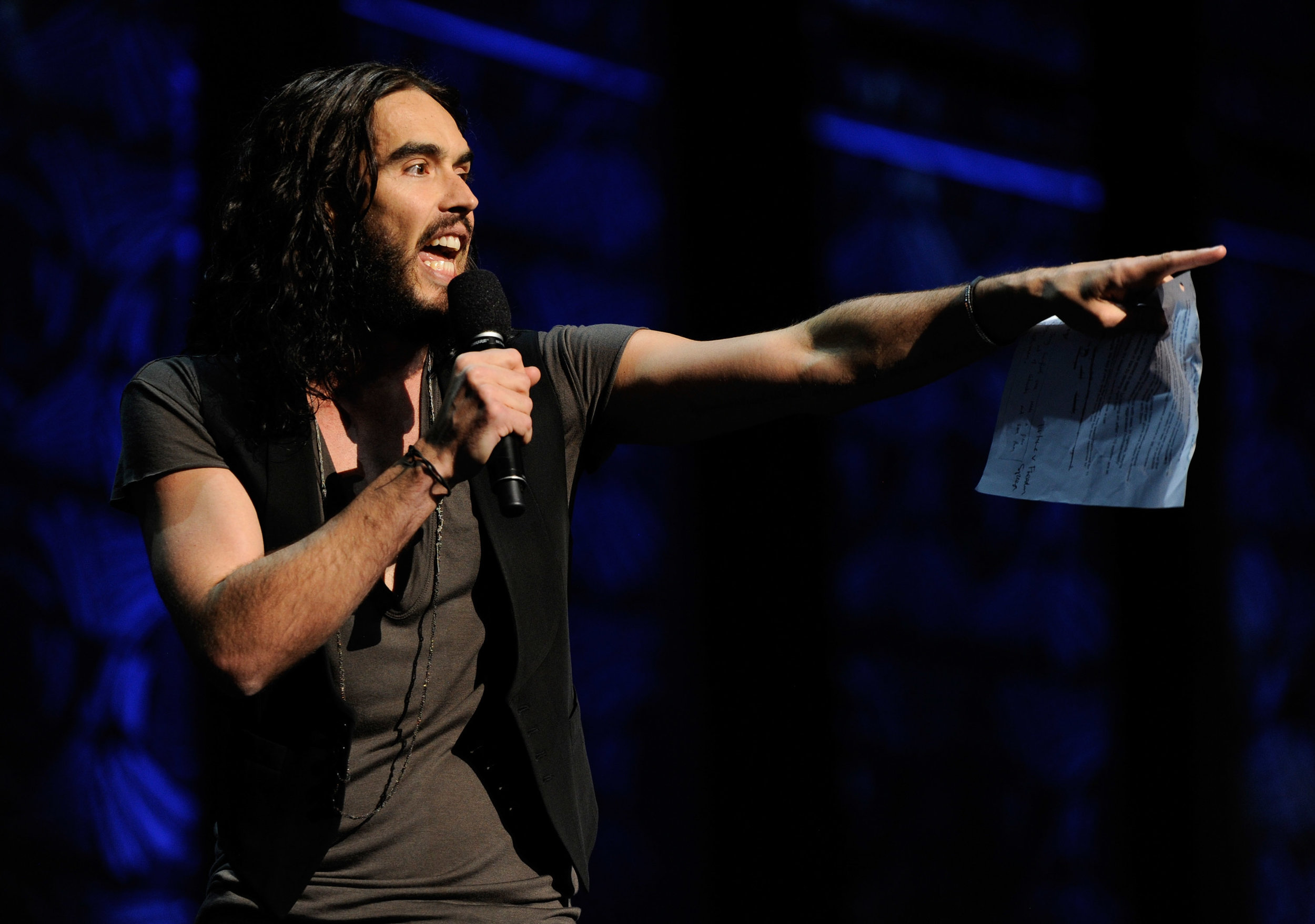 Russell Brand stands up for freedom of expression at the Secret Policeman's Ball, March 2012.