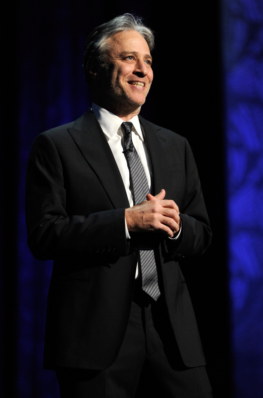 Jon Stewart opens the Secret Policeman's Ball at New York's Radio City Music Hall, March 2012.