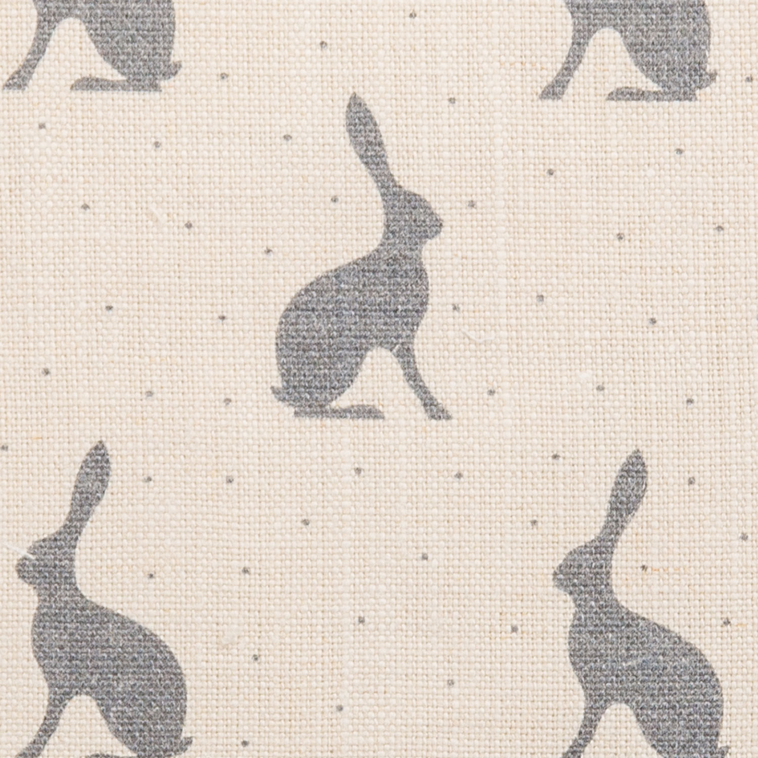 Mini Hares, Storm Grey on Chunky Linen