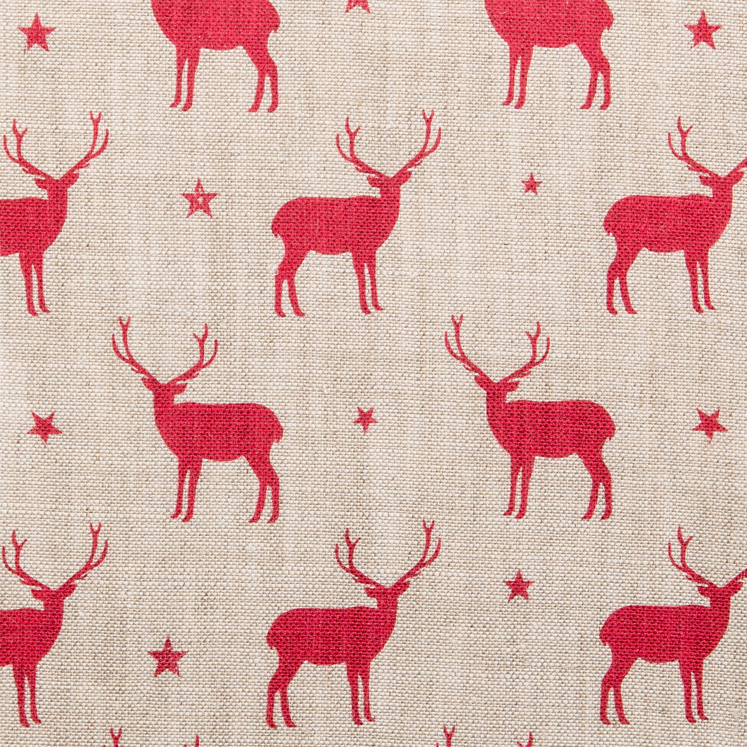 Mini Stags, Red on Stone Linen