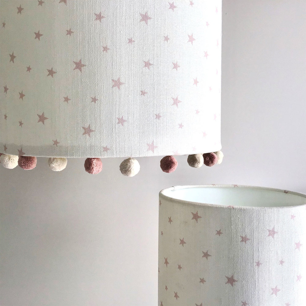 Candy Stripe Rose Pink Lampshade, Pink And White Lamp Shades