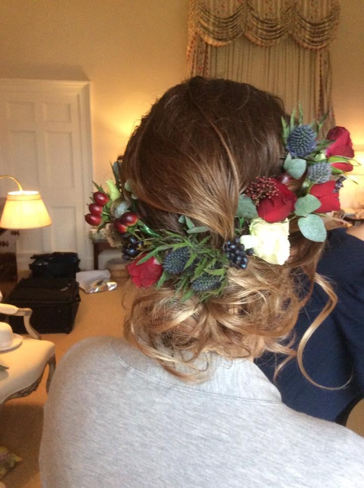 Romantic Wedding Hair - Thistles, Berries and Roses