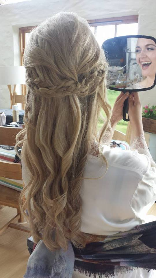 Beautiful Bride with Long waves and Loose Braid