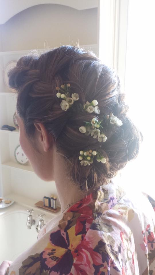 Bridal Hair - Loose Braids and Delicate Flowers
