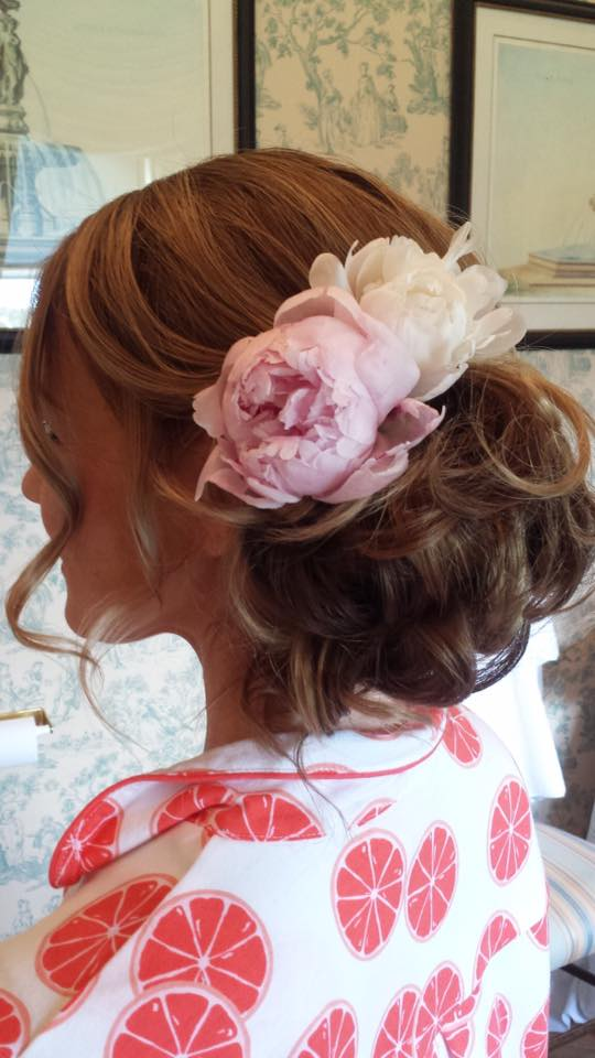 Bride with Up-do and Floral Hair Design