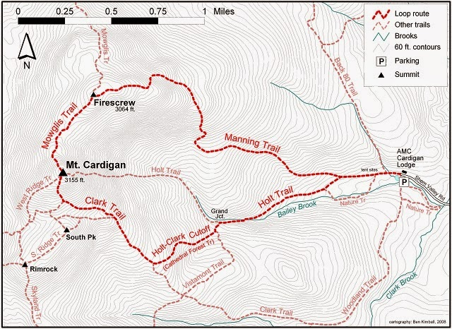 Overview of trails Our route: Holt Trail/Clark Trail/South Peak/Summit. (Red outline is not our route)