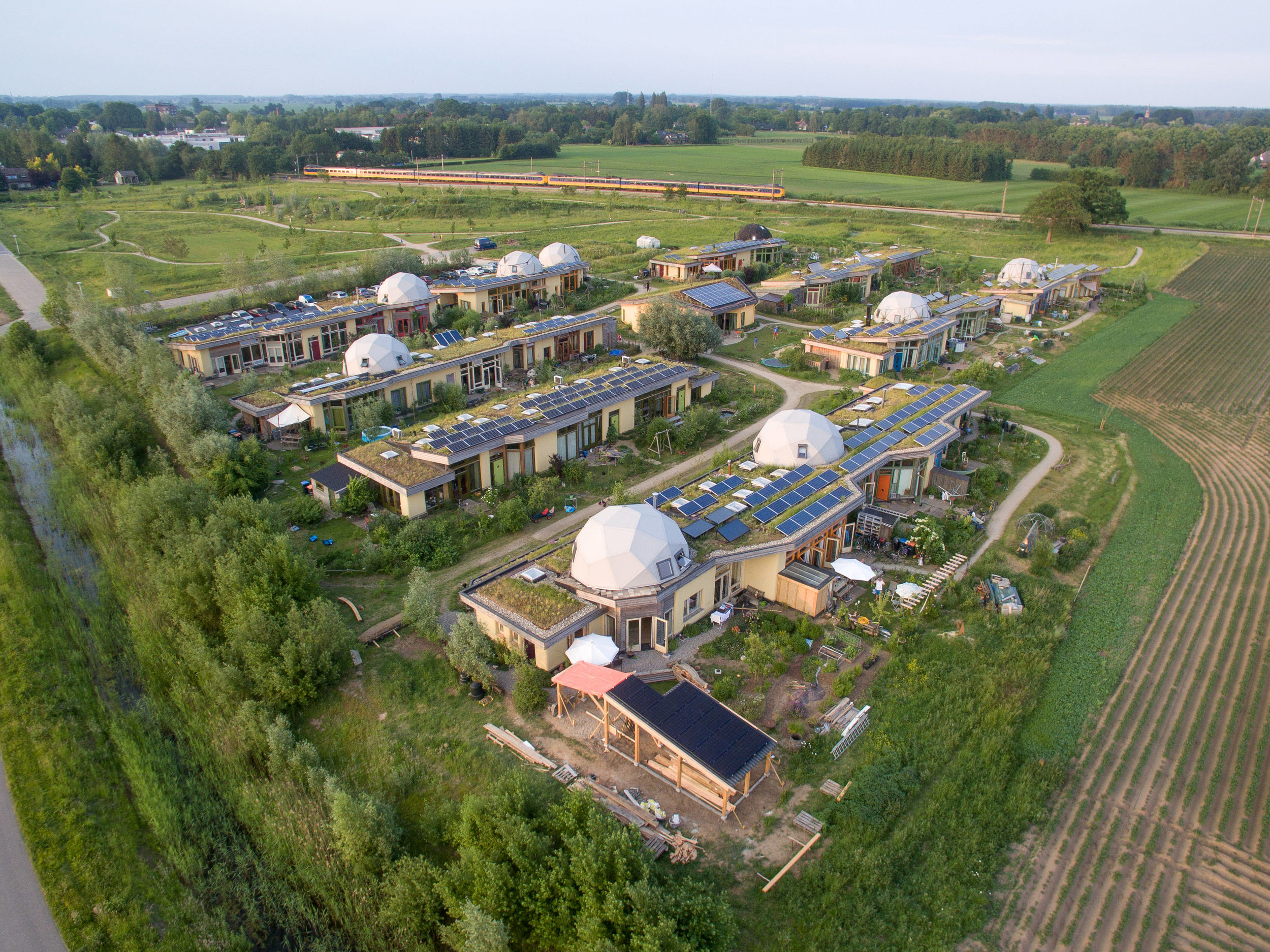 An ecovillage in the Netherlands houses 70 people and produces 75% of its own energy.