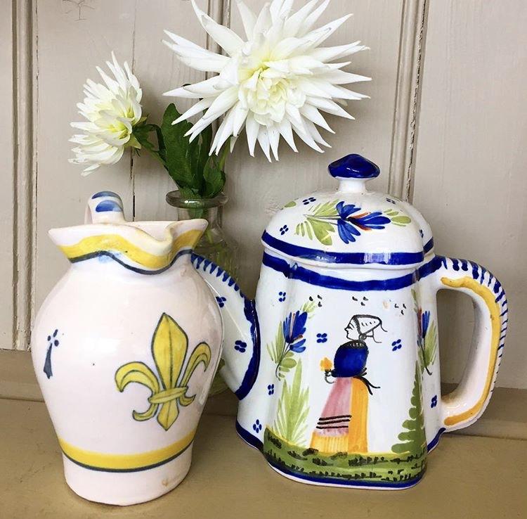 An Antique Quimper Teapot and Jug