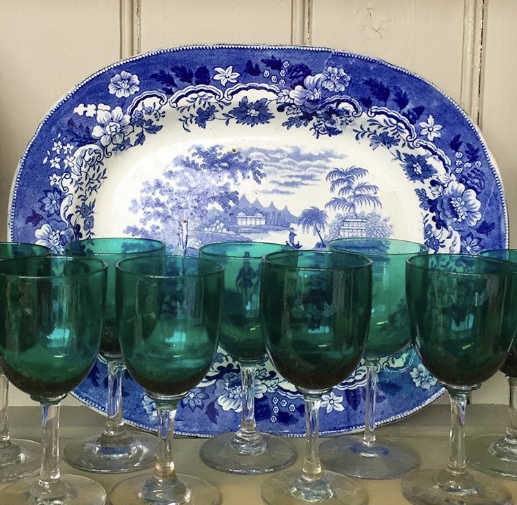 A Set of 12 Antique Glasses and a Platter