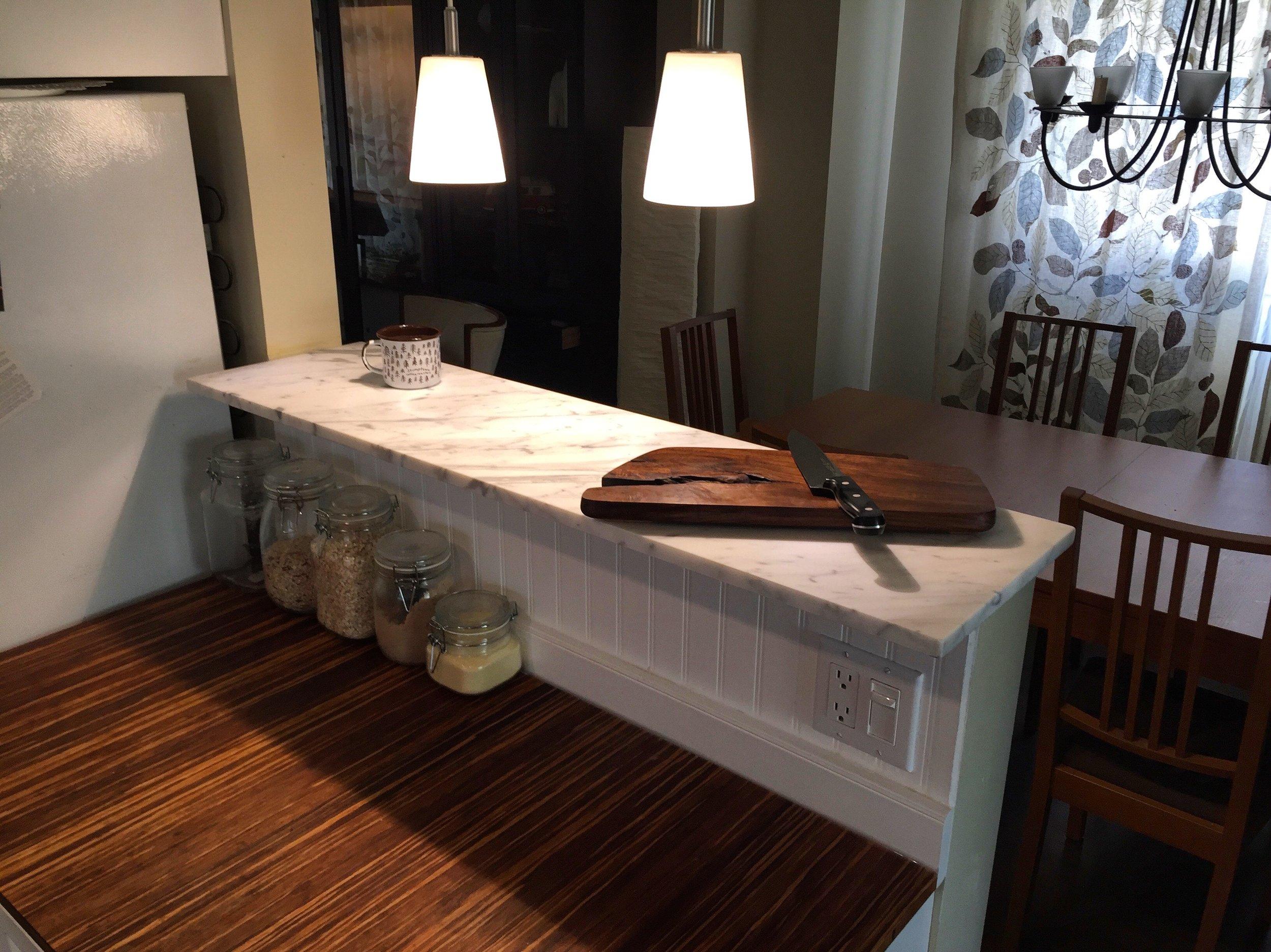 Honed Carrara Marble Bar Top