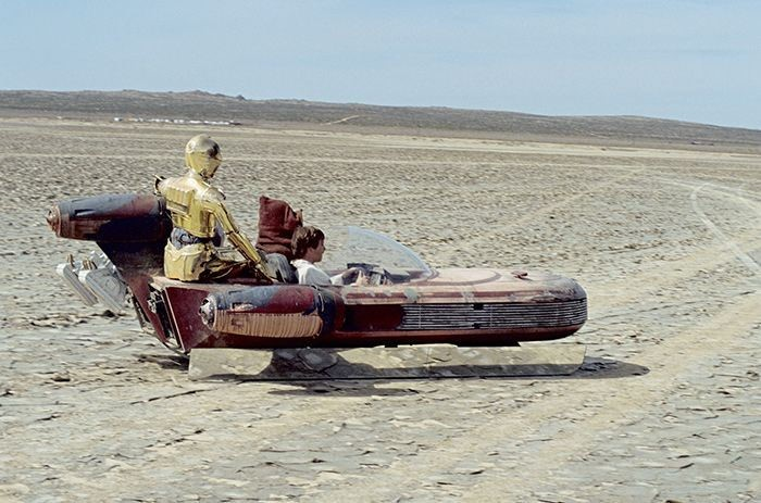 "A ""landspeeder"" from the original Star Wars movie"