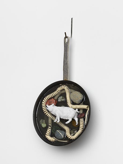Tondo (White Pig)   metal frying pan, epoxy resin, telephone cord, stones, plastic pig toy, acrylic  2019