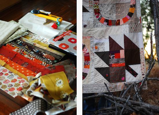 "Amanda Jennings, 2014, quilt in progress and ""Maple Os."""