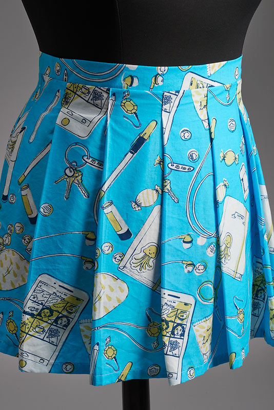 Sam's Bag Skirt , hand screen-printed on cotton, 2016. Featured in  Selfie Girl  show. Photo by John Wilson White.