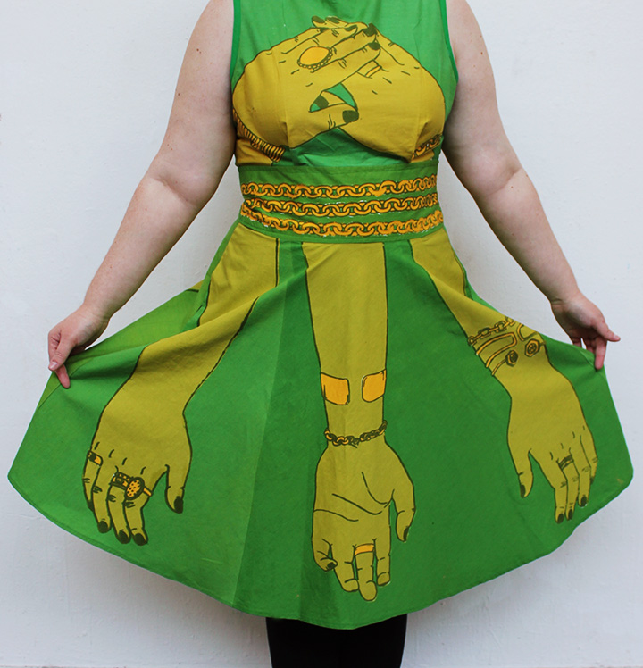 Bejeweled Hand Dress , hand screen-printed on cotton, 2013.