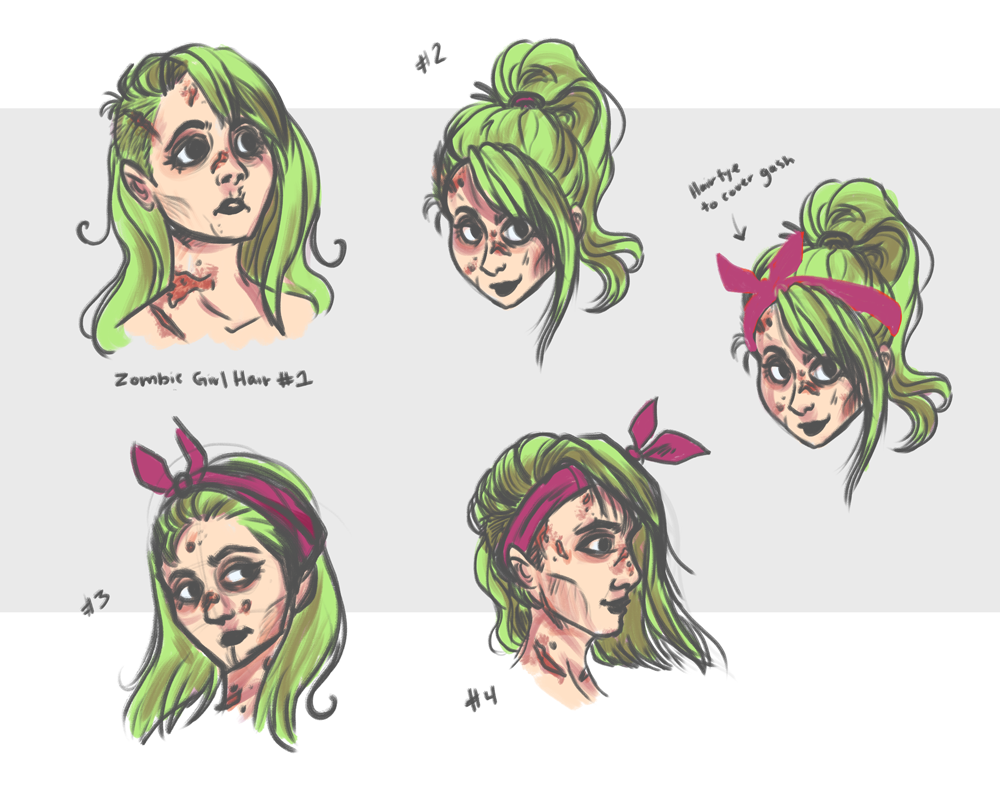 Hairstyle Concepts for Zombie Babe