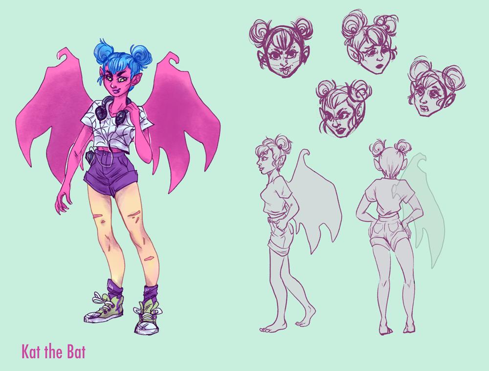 Kat the Bat Character Design