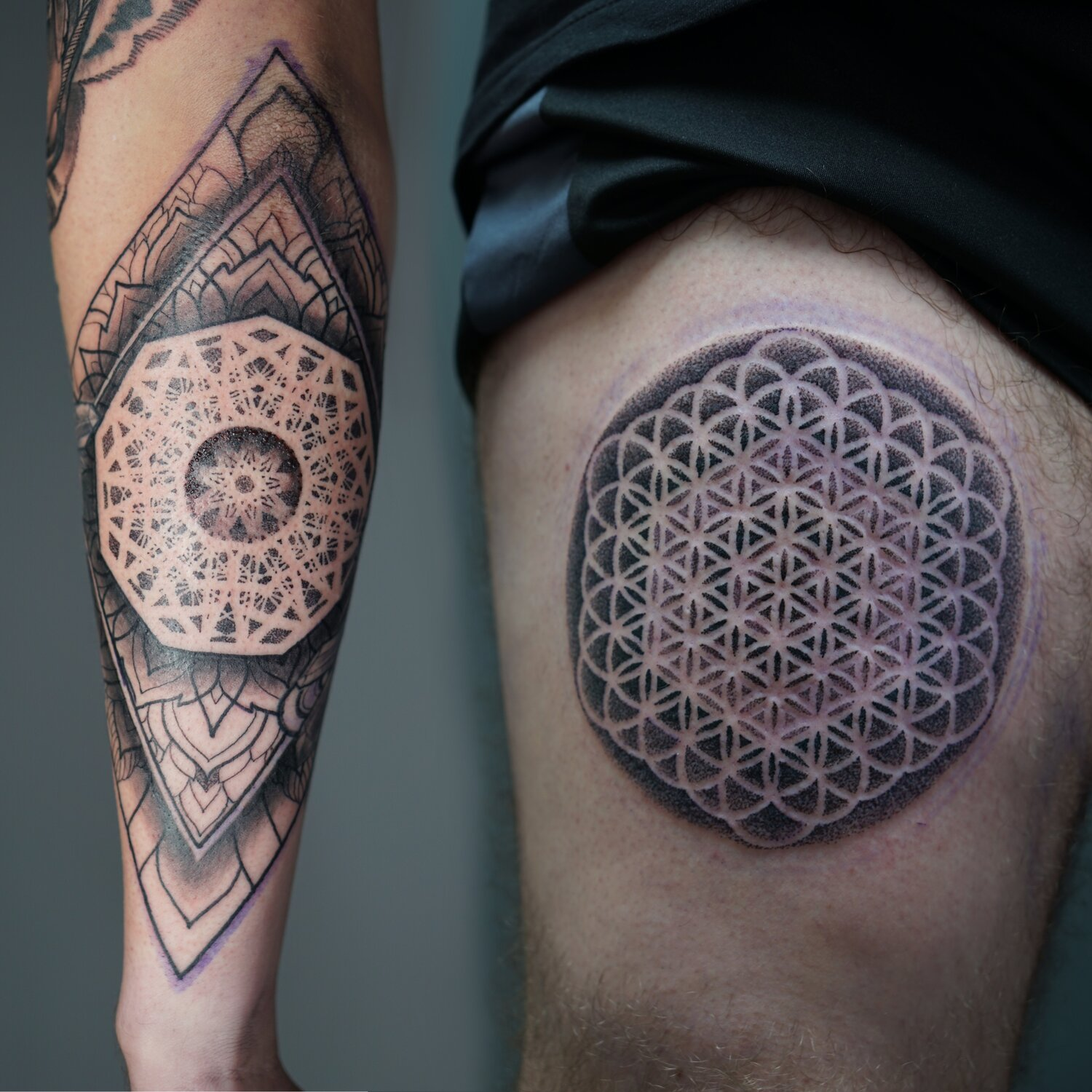 Back of forearm piece and flower of life on thigh